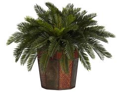 Cycas Artificial Silk Plant with Bamboo Planter | 22 inches