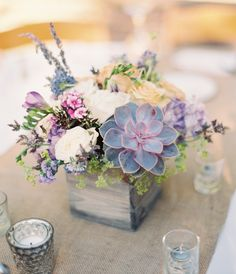 Wedding flowers succulents centerpieces floral arrangements 58 new ideas Wooden Box Centerpiece, Rustic Wedding Centerpieces, Summer Centerpieces, Wedding Rustic, Centerpiece Ideas, Table Centerpieces, Lavender Wedding Centerpieces, Succulent Wedding Centerpieces, Wedding Lavender