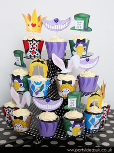 Alice in Wonderland Cupcake Wrappers, mad hatter party, alice in wonderland party