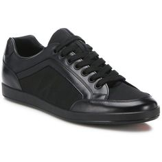 Prada Leather Low-Top Sneakers (655 CAD) ❤ liked on Polyvore featuring men s d44e636ff61