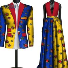 African Couple Clothing Lovers Outfit Wedding Flower men Bridesmaid Suit and Dress Couples African Outfits, African Clothing For Men, Couple Outfits, African Print Fashion, Couple Clothes, African Wedding Attire, African Attire, African Wear, African Dress
