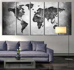 Large Canvas Print Black and White World Map by ExtraLargeWallArt