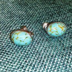 Vintage AMCO Sterling Silver Earrings Screw Back Robin's Egg Blue Art Glass, $10