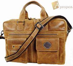 Vintage Look Aktentasche 42cm Leder Laptoptasche i-Pad Trageriemen Braun Apropos