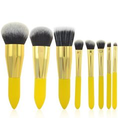 Cosmetic 8 Pcs Lemon Yellow Germproof Fiber Makeup Brushes Set #CLICK! #clothing, #shoes, #jewelry, #women, #men, #hats, #watches