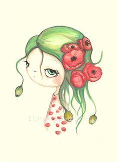 Amapola florista impresión---rojo amapola Whimsical retrato---amapolas