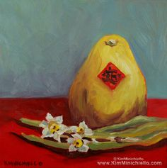 Kung Hei Fat Choi, Limited Edition Giclée Print on Canvas & Note Card #oilpainting #chinesenewyear #pomelo #narcissus www.kimminichiello.com