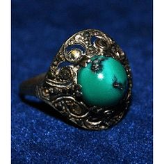 GORGEOUS OLD SILVER (925) RING WITH GREEN STONE