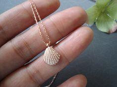 Rose gold tiny sea shell necklace...dainty handmade necklace, everyday, simple, birthday, wedding, bridesmaid jewelry, wedding, beach. $16.00, via Etsy.