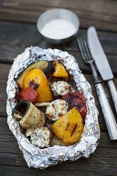 gegrilltes gemüse, Gemüse Packerln, Gemüse, veggie, vegetarisch, vegetarisches Rezept, Beilage, Dip