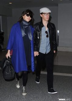 Benedict Cumberbatch and Sophie Hunter leaving Los Angeles, after Golden Globes; LAX,  January 12,M 2015