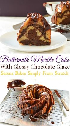 Buttermilk Marble Bundt Cake With Glossy Chocolate Glaze www.serenabakessimplyfromscratch.com