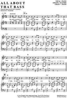 All about that bass (Klavier + Gesang) Meghan Trainor [PDF Noten] >>> KLICK auf die Noten um Reinzuhören <<< Noten und Playback zum Download für verschiedene Instrumente bei notendownload Blockflöte, Querflöte, Gesang, Keyboard, Klavier, Klarinette, Saxophon, Trompete, Posaune, Violine, Violoncello, E-Bass, und andere ...