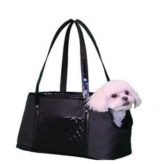 """The Ella Tote from Petote is perfect for easy breezy travels around town with your dog! The Ella is a stylish, lightweight tote style dog bag. Made of durable canvas and trimmed with quilted and shiny faux leather, this fashionable tote will have heads turning. Ella tote features removable and washable faux fur bedding, adjustable interior safety strap, and 2 exterior quilted pockets for storage. Size: 17"""" L x 7"""" W x 10"""" H (for pets up to 12 lbs.)"""