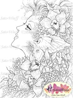 Instant Download Digital Stamp Fairy Orchids Luna by AuroraWings, $4.00