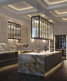 Luxury Kitchen Design, Kitchen Room Design, Contemporary Kitchen Design, Home Room Design, Luxury Kitchens, Interior Design Kitchen, Kitchen Ideas, Kitchen Decor, Luxury Homes Interior