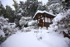 歌仙祠 常寂光寺 雪 冬 京都