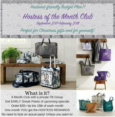 The Anchored Bags by Sarah Hostess of the Month Club starts in just 1 week! If you've ever been interested in being a VIP Hostess, NOW is the time...especially when the Fall catalog is so amazing! www.AnchoredBagsBySarah.com