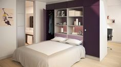 Walk in Wardrobe Behind Bed Designs fit modern bedrooms, Collection of Best Walk-in closet behind bed design ideas to provide more space for small bedrooms. Wardrobe Behind Bed, Bedroom Wardrobe, Mezzanine Bed, Large Curtains, Room Furniture Design, Furniture Buyers, Small Apartments, Bed Design, Modern Bedroom