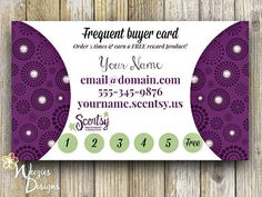 Scentsy Frequent Buyer Card, Business Card, Direct Sales Marketing, Independant Consultant, Directs Sales Business Card on Etsy, $8.00