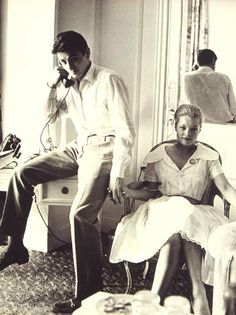 Alain Delon and Romy Schneider in Cannes 1959 - photo by Dalmas,