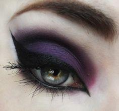Black and purple eye makup