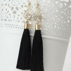 Black Tassel Earrings with Gold Oval and Crystal