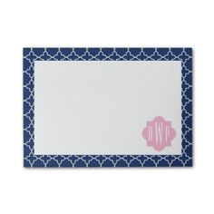 Navy Quatrefoil & Pink Monogram Post-it Notes by Jill's Paperie