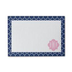 Navy Quatrefoil & Pink Monogram Post-it Notes by Jill's Paperie