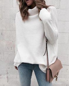 Long Sleeve Autumn Winter Sweater Women White Knitted Sweaters Pullover Jumper Fashion 2018 Turtleneck Sweater Female Jumper Outfits Office Outfits With Jumpers Fashion Look Fashion, Winter Fashion, Fashion Outfits, Fashion 2018, Fashion Blouses, Fashion Trends, Size 8 Fashion, Fashion Online, Fashion 1920s
