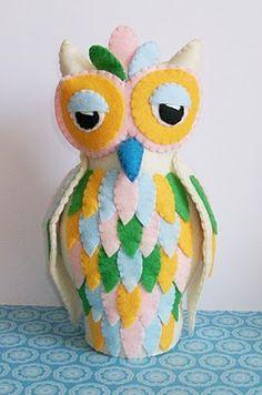 Plush Soft Sculpture Feather Owl