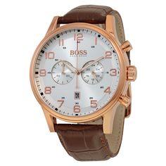 Elegant Hugo Boss Watches Brown Leather Strap