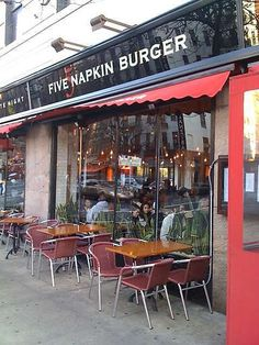 "Five Napkin Burger. Need to eat here! Its in Hells Kitchen NYC Corner of 45th and 9th.  One of the best burgers I have EVER had! A great restaurant that is I consider ""butcher shop chic"". Really worth checking out!"