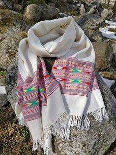 Ivory white wool scarf,blanket scarf,wrap,shawl,throw,tribal shawl #shawls and scarves