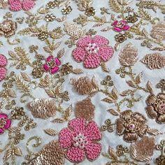 No photo description available. Zardosi Embroidery, Embroidery On Kurtis, Kurti Embroidery Design, Hand Embroidery Flowers, Hand Work Embroidery, Indian Embroidery, Embroidery Fashion, Hand Embroidery Designs, Beaded Embroidery