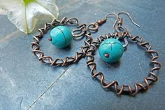 Tribal Sun Copper Hammered Wire Wrapped Hoops by SkyAndBeyond