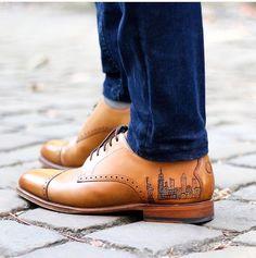 New York Skyline Tattoo on tan leather derby shoes Fancy Shoes, Men's Shoes, Shoe Boots, Tan Leather, Leather Shoes, Formal Attire For Men, Shoe Tattoos, Shoe Crafts, Mens Essentials