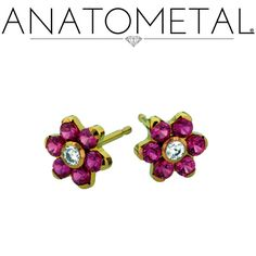 Flower Earrings in ASTM F-136 titanium, anodized copper; CZ, synthetic Ruby gemstones