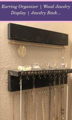 Jewelry Organizer Wall Bedrooms | Earring Organizer | Wood Jewelry Display | Jewelry Rack | Jewelry Organizer With Shelf | Jewelry Organizer Drawer | Jewelry Organizer Drawer Dressers Diy Organizer, Jewelry Organizer Wall, Jewellery Storage, Jewelry Organization, Diy Necklace Organizer, Earing Organizer, Hanging Clothes Organizer, Room Organization, Diy Jewelry Holder