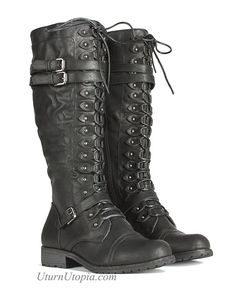 Knee High Combat Steampunk Boots Military /Grunge