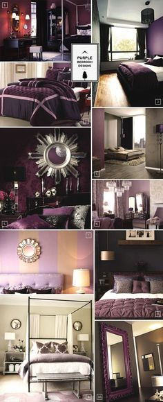 Purple Bedroom Designs: Inspiration Mood Board My dream bedroom - Shades of Purple, Black, & Gray Dark Purple Bedrooms, Purple Bedroom Design, Purple Rooms, Bedroom Designs, Purple Master Bedroom, Bedroom Styles, Bedroom Ideas Purple, Romantic Purple Bedroom, Brown Bedrooms