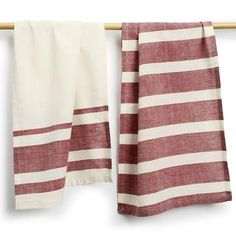 Wine Cotton Tea Towels Set of 2 - Sustainable Threads (L). Two pack of 24 by 14 inch cotton, hand woven tea towels. Packaged on a retail hanger.