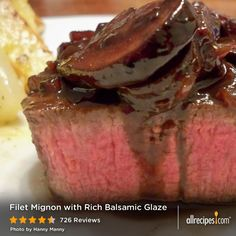 Filet Mignon with Rich Balsamic Glaze | Beef tenderloin filets are browned, and then cooked in red wine and balsamic vinegar for a quick and simple dinner for two.