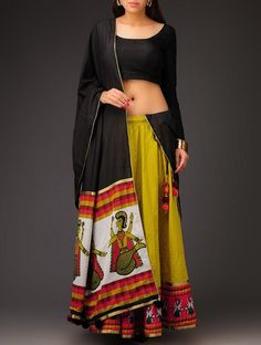 Buy Mustard Orange Black Swiss Dot Matsya Motif Half Saree Set Cotton Online at Jaypore.com