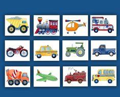 Transportation nursery art boys by theprincessandpea on Etsy Art Wall Kids, Wall Art Decor, Art For Kids, Wall Art Prints, Art Children, Room Decor, Boy Nursery Bedding, Baby Nursery Decor, Nursery Art