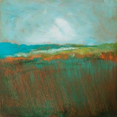 """Artist Bob Pennycook  Another acrylic monoprint created on the Gelli printing plate with brushes and shishkabob skewers! """"Blue Hills"""" 6"""" x 6"""", golden acrylics, Stonehenge paper."""