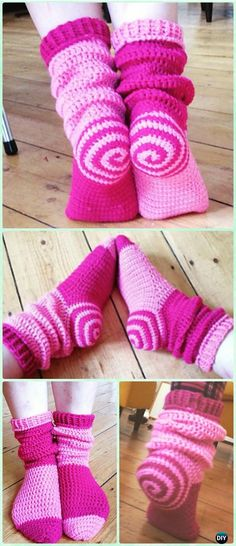 Crochet Spiral Sock Slipper Boots Free Pattern - #Crochet High Knee Crochet Slipper Boots Patterns