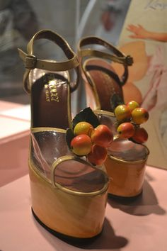 Fiorucci fruit platform wedges from the 70s at pop culture exhibition, Yorkshire