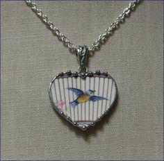 Broken China Jewelry Handcrafted Sweet Bluebird by robinsrelics