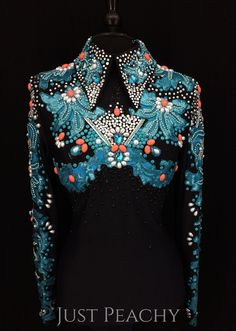 Black, Turquoise and Coral Horsemanship Shirt ~ Ladies Small/Medium Western Show Shirts, Western Show Clothes, Horse Show Clothes, Western Wear, Joseph Costume, Western Horsemanship, Show Jackets, Coral Turquoise, Dance Costumes